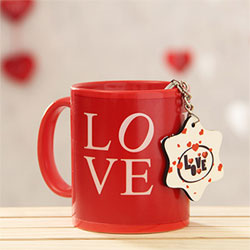 Love Mug with Star Shaped Keychain