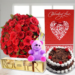 Small Teddy Bear,40 Red Roses in cellophane packing Vlentine Card,5pcs Ferrero Rocher 1/2kg Round Black Forest Cake