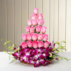 Basket arrangement of 20 Pink Roses and 6 Purple Orchids basket