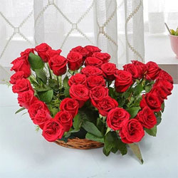 37 red roses are arranged in the shape of two hearts so it expresses your emotions to your loved ones.