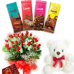 10 LuvIt chocolate each one 36 gms + 50 Red roses bunch + small teddy bear