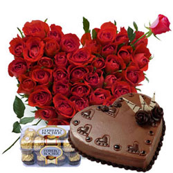 50 Red roses heart shape basket + 16 Pcs Ferrero Rocher box + 1kg chocolate (Or) black forest heart shape cake