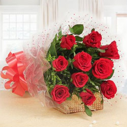 When a bunch of 10 ravishing Red Roses come together in such beautiful wrapping,