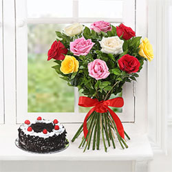 Make your loved ones drool with this heavenly half kg round shaped black forest cake +10 mixed roses bunch