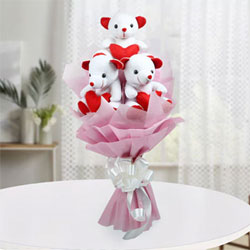 Bouquet of 3 Red White Teddy Bears (6 Inches each)