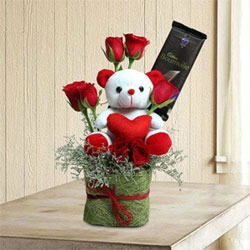 Arrangement of 7 Red Roses, Cadbury Bournville Cranberry Chocolates - 80 grams, Teddy Bear - Height 6 inches