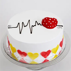 1kg Round Pineapple cake with heart shape  decoration on top. Weight : 1kg