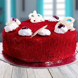 There's another synonym of Delicious. It's Red Velvet Cakes. And this sumptuously whipped Red Velvet is the heaven for cake lovers The icing, design of the cake may vary from the image depending upon local availability