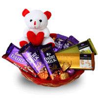 Basket of 5 Cadbury Assorted 65 gms silk chocolates with 2 temptations, 6 Inch teddy bear