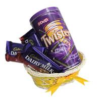 Basket Hamper of Chocolates, Twister, 4 Cadbury 65 gms silk chocolates in a basket.