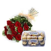 Bunch of 12 Red Roses & 16 Pcs Ferrero Rocher