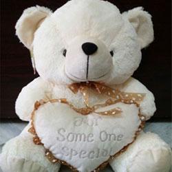 Cream Teddy Cuddly teddy bear with ribbon around its neck Height: 14 inchs