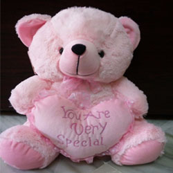 Pink teddy Cuddly teddy bear with ribbon around its neck
