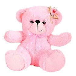 Angel Bear Flower Applique Pink 20cms