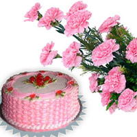 Bunch of 10 Pink Carnations along with 1 Kg Fresh Cream Strawberry Cake