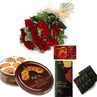12Red roses bunch Danish Butter Cookies 50gms CADBURY BOUNRVILLE FINE DARK CHOCOLATE - 2 Nos ...