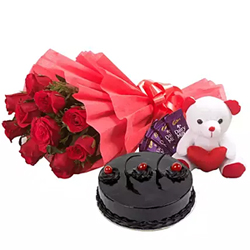 This gift set contains a decent bouquet of 12 red roses, Cadbury Dairy Milk Chocolates - 5 (12.5 grams each) small white and red coloured teddy bear and a  500 grams truffle cake..
