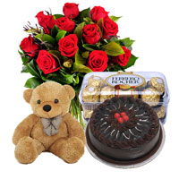 12 Red Roses bunch  & 16 Pcs Ferrero Rocher + 1kg chocolate cakes small teddy