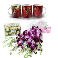 Bunch of 6 Purple Orchids in a cellophane packing with Purple Ribbon and 16pcs Ferrero Rocher chocolate box.  Valentine's day then this love mug