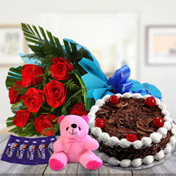 500 gms Black forest cake, 10 Red Roses in blue paper packing,Small Teddy Bear and 5 dairy milk chocolates Show your crazy love with a combo gift