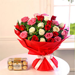 Bunch Of 25 Mix Roses With 16pc Ferrero Rocher Box