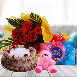 10 Red roses in yellow paper packing + 500 Gms butterscotch cake + celebrations pack big pack + small teddy