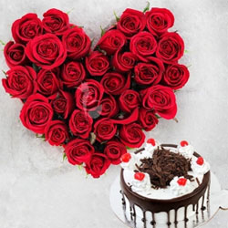 Valentine's crave for love and more to that, it seeks for the oddest expression of love. 35 red roses heart shape arrangement with half a Kg black forest cake