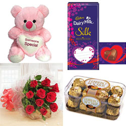 12 Red roses bunch + Cadbury Dairy Milk Silk Valentine Special edition+Ferrero Rocher 16 Pieces pink Teddy Bears are the most lovable soft toys 14 to 16 inchs