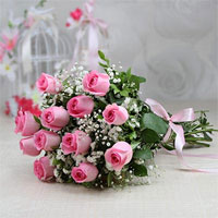 Bunch of 18 Fresh Pink Roses