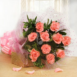 This bunch of 20 pink roses is a wonderful presentation to bring delight to the eyes and an unceasing smile on the lips, Flowers to Bangalore