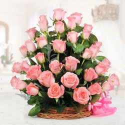 This stunning basket consists of 30 Pink Roses.They are a suave way to represent that you care and express your emotions of affection