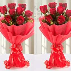 Description: 12 Red Roses bunches (2no) specially made to express your heart felt wishes to the couple on their most special day.