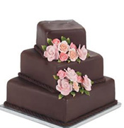 Extremely fresh with nicely decorated 3 tier wedding cake now available in dark chocolate flavour. (Net Weight : 5 Kgs)