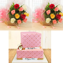 A playful rose pink cake, this fondant tiered beauty is sure to take your dear one 12 Mixed Roses bunches (2no) specially made to express your heart felt wishes to the couple on their most special day. NOTE: The icing, design of the cake may vary from the image depending upon local availability.