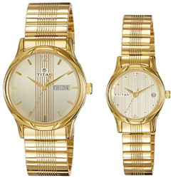 Titan Bandhan Analog Gold Dial Couple Watch -NK15802490YM05
