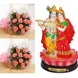 15 Pink roses flower bunches -2 pieces.+ Radha Krishna-5 Inches